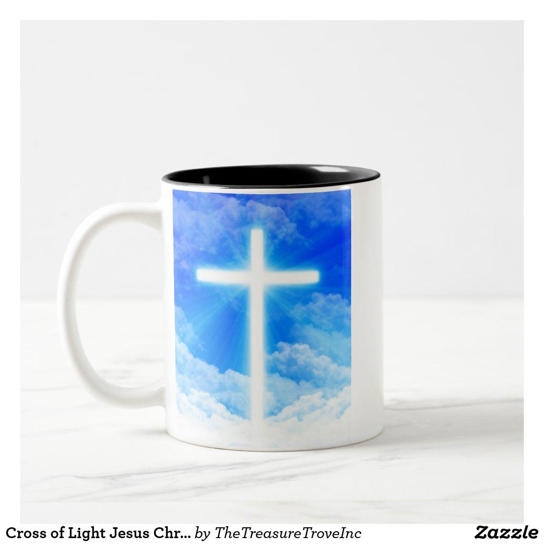 Cross Of Light Jesus Christ Customizable Christian Two Tone Coffee Mug Zazzle Com Jesus Christ Christian Messages Christian Designs