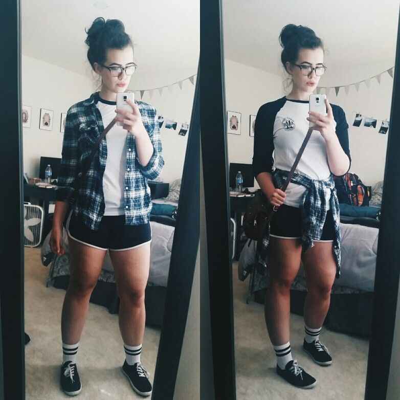 Sporty baseball tee & shorts outfit w/ flannel shirt.  For summer.