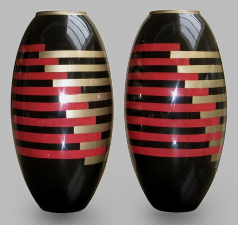Pair Of Enamel Lacquered Art Deco Vases Jean Dunand Art Deco
