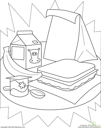 lunch coloring pages - color the healthy lunch worksheets and school
