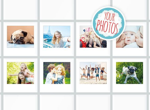 8 Kitchen Tile Decals, Your Photos as Polaroid Tile Sticker, Photo gift tile, Tile Mural, Tile Cover, Tile Coasters, Selfie Collage,
