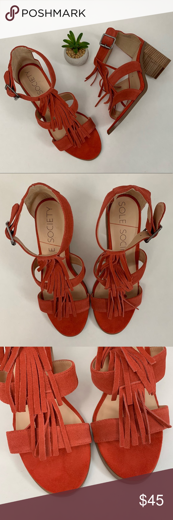 NWOT Paprika Sole Society Delilah Fringed Heels New