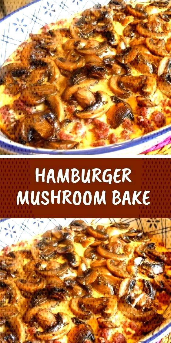 Yummy main dish HAMBURGER+MUSHROOM+BAKE