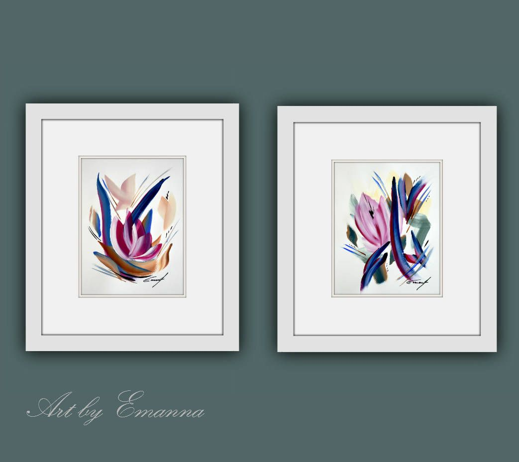 Set of 2 Framed Original Painting Acrylic painting on paper. Size of ...