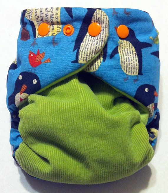 AIO Cloth Diaper Newsworthy Penguins Vintage Corduroy Waterproof One