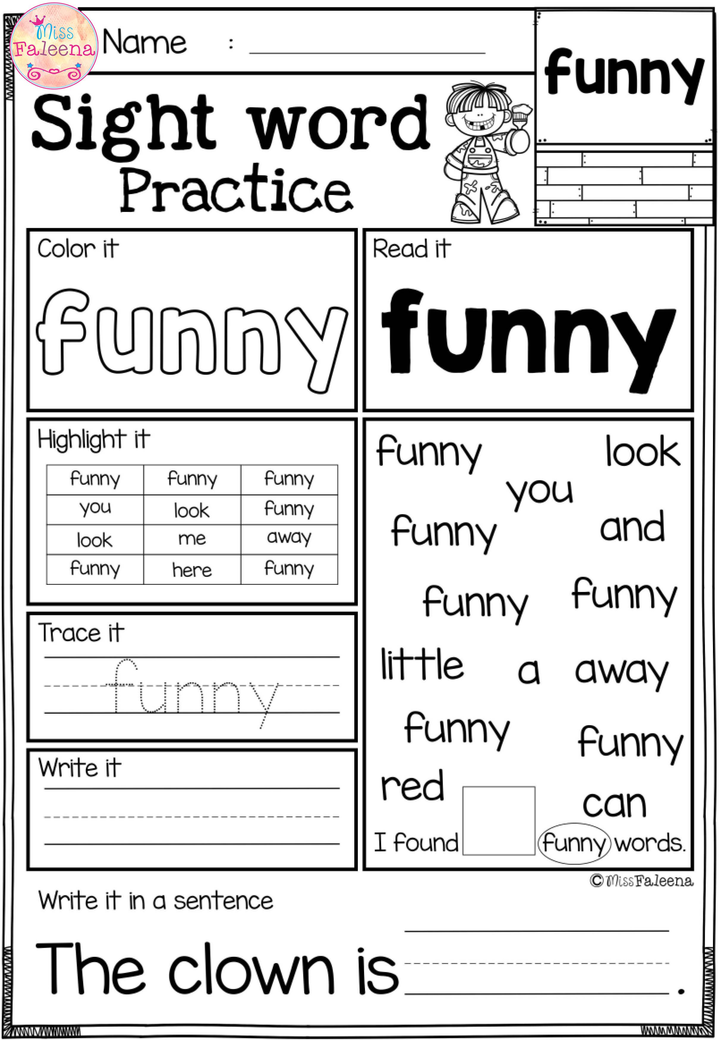 Free Printable First Grade Sight Word Worksheets