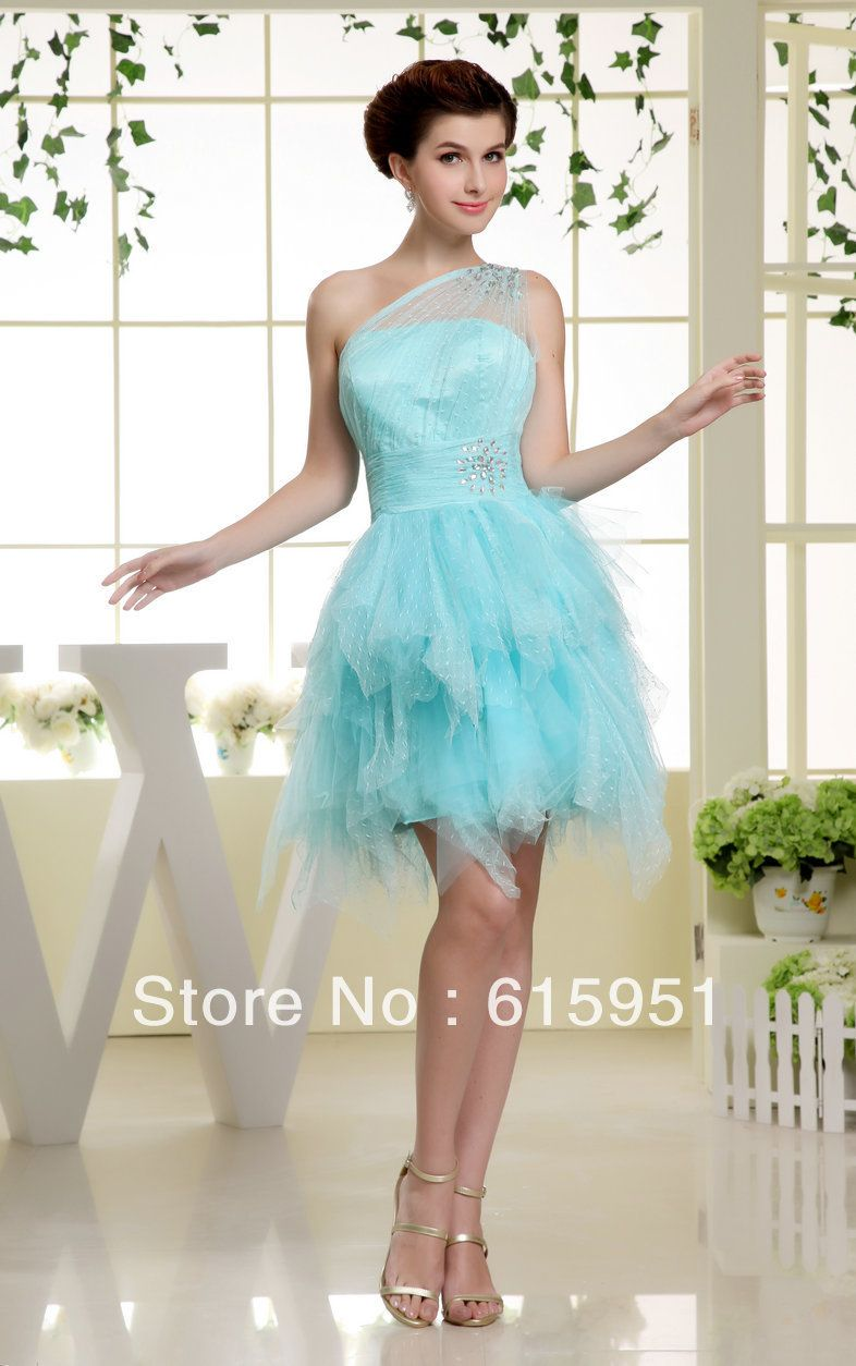 Aliexpress.com. One Shoulder Beaded Tulle Blue Cocktail Dresses JY923