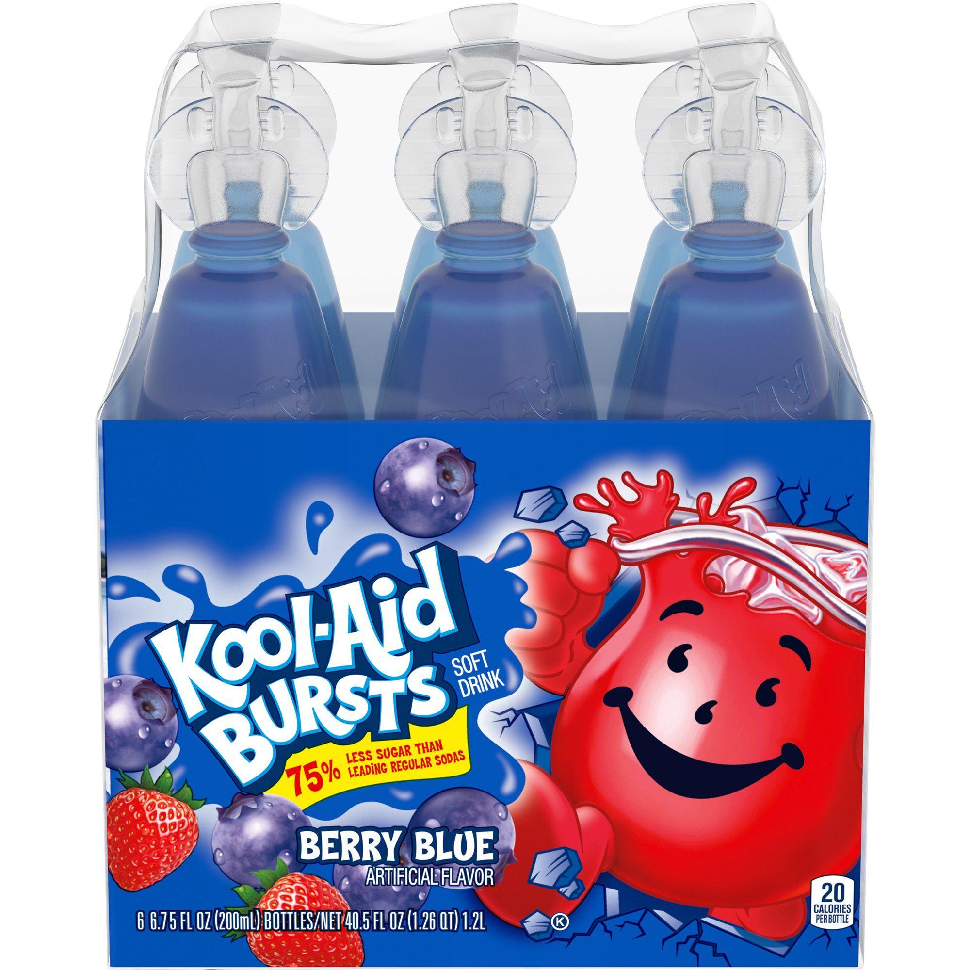Kool Aid Bursts Berry Blue Artificially Flavored Soft Drink 6 Ct Pack 6 75 Fl Oz Bottles Walmart Com In 2021 Kool Aid Soft Drinks Kid Drinks