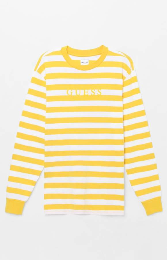 eb721eaa2f7 Guess Palm Stripe Long Sleeve T-Shirt | Products in 2019 | Striped ...