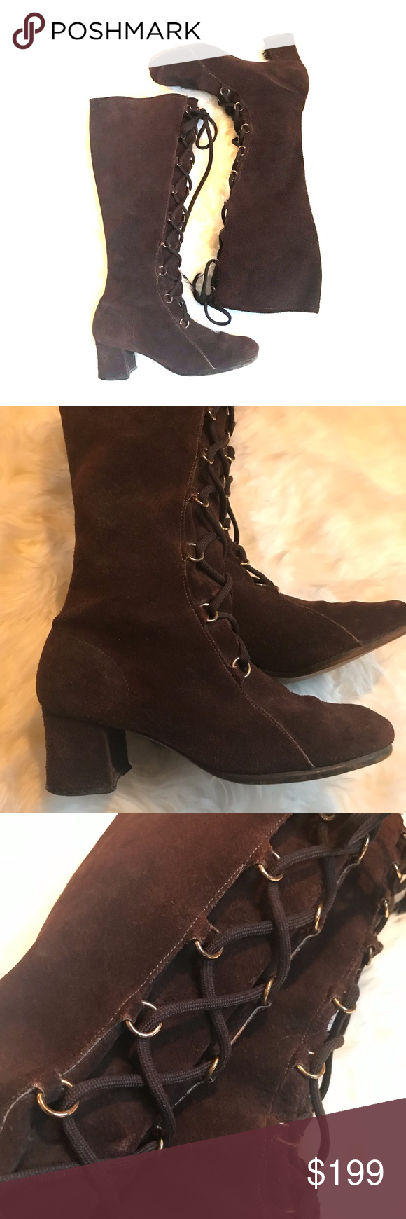 ea4d8be8b7b12 Vintage 60's Suede Lace Up Knee High GoGo Boots Very cool and ...