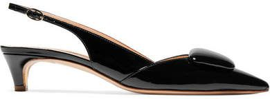 5a55ca1d3676 Rupert Sanderson Misty Patent-leather Slingback Pumps - Black ...