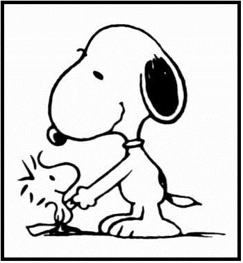 Snoopy Shaking Hands Coloring Picture For Kids