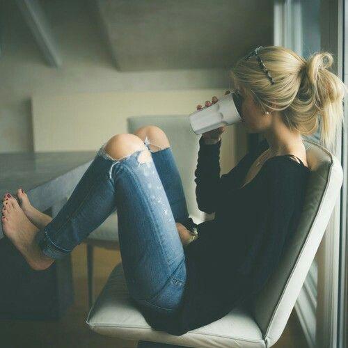 Blonde girl drink coffe