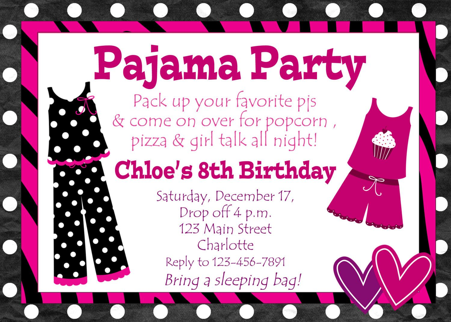 Pajama party birthday invitation | Party Themes and Things ...