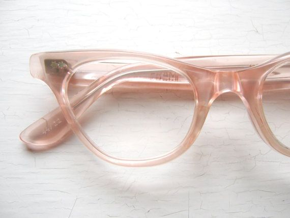 French 50's Cat Eye Eyeglass Frames Salmon Pink Icy Eyeglasses Eyeglass Frames