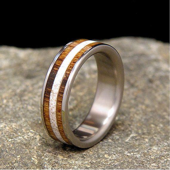 Jack Daniels Wood Titanium Wedding Band Or Ring Authentic Aged Barrel Deer Antler Inlay