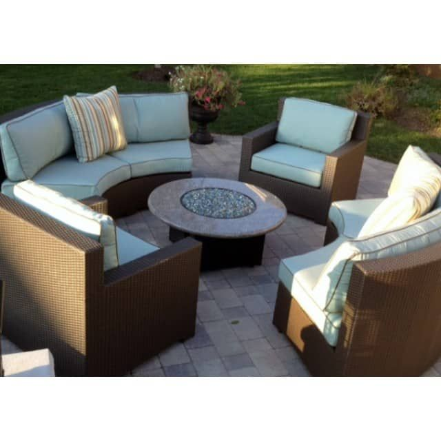 Malibu Collection 5 Piece Set With Granite Gas Fire Pit Table