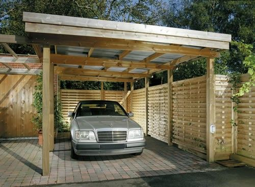 Wood And Corrugated Metal Carport Garden And House