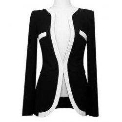 Office Lady Fitted Black And White Match Polyester Blazer For ...