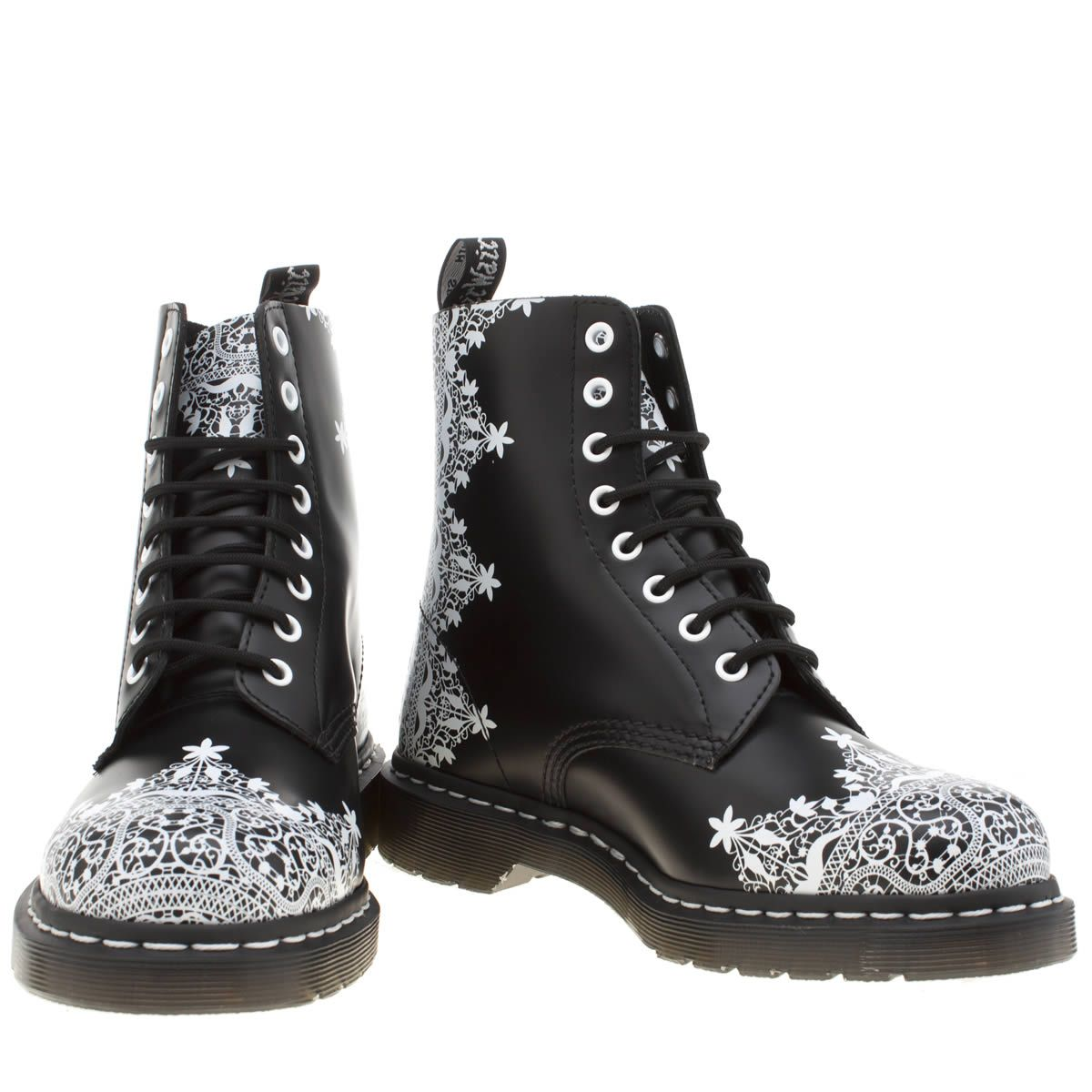womens black & white dr martens pascal lace 8 eye boot boots