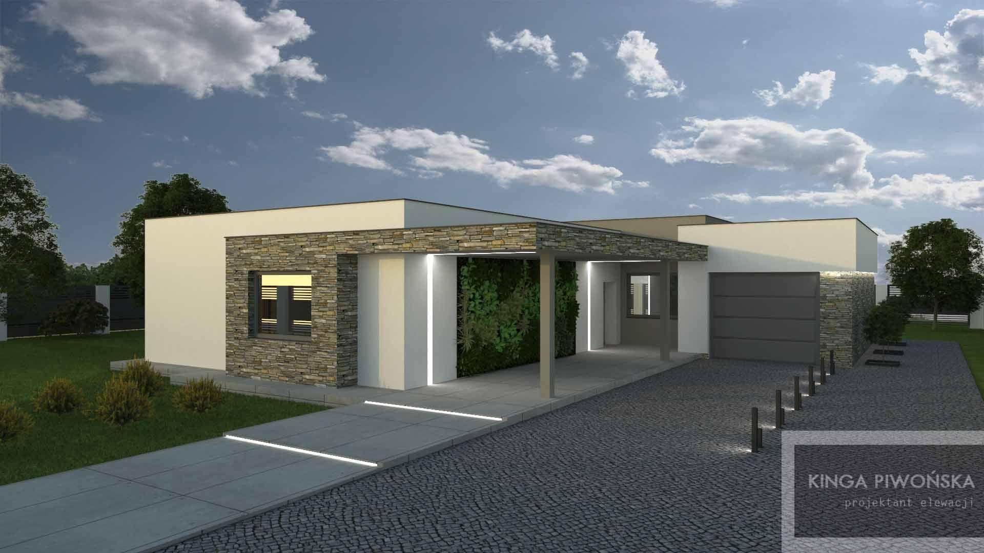 Projekt Wykończenia Elewacji Nowoczesnego Domu Parterowego
