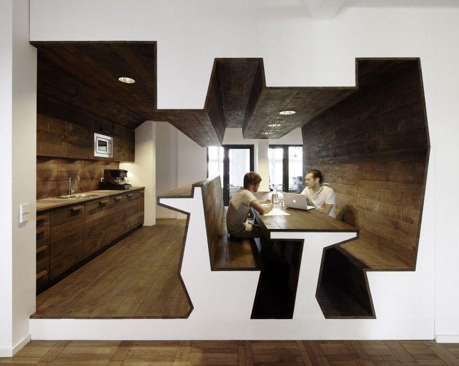 Contemporary Office Interior Design - Unique Shaped Furniture of ...