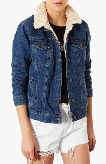 Free shipping and returns on Topshop Moto Fleece Lined Denim ...