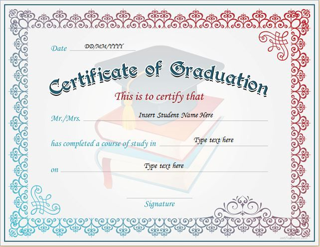 Certificate Of Graduation For Ms Word Download At Http Certificatesinn C Graduation Certificate Template Certificate Templates Gift Certificate Template Word
