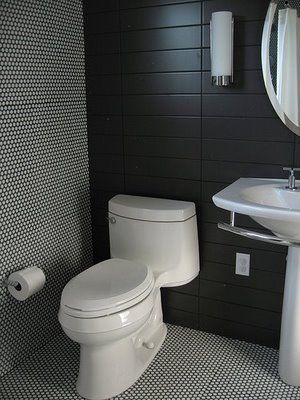 White Bathroom Tiles With Black Grout black tile white penny rounds and black grout | kitchen