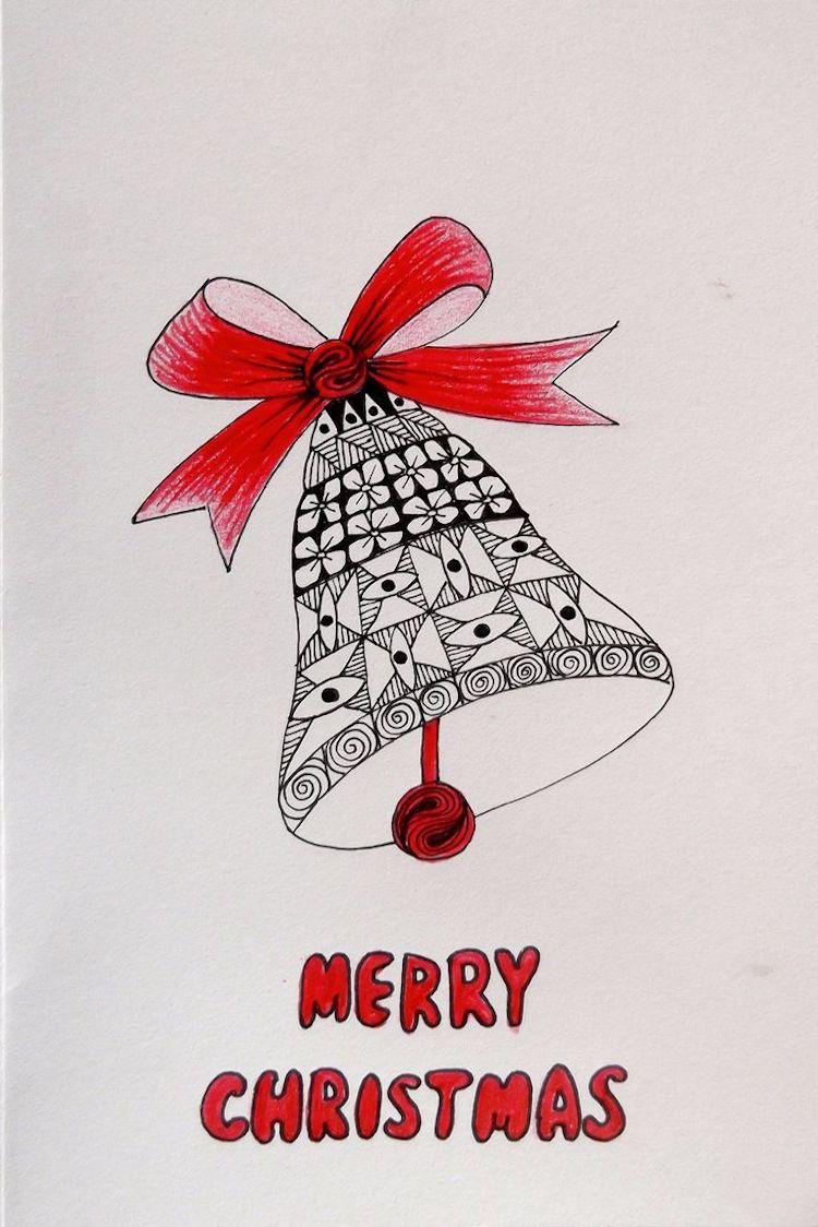 Zentangle Vorlagen Weihnachten Glocke Frohe Weihnachten Grußkarte ...