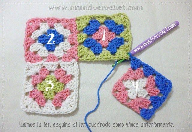Como unir cuadrados granny a crochet o ganchillo paso a paso ...