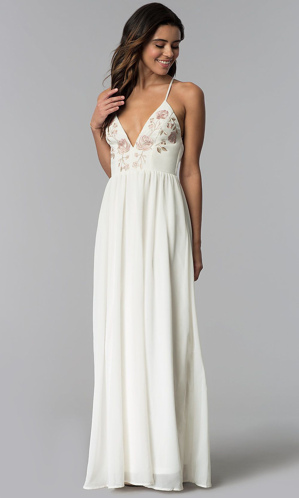 V-Neck Long Embroidered Wedding-Guest Dress   Inexpensive ...