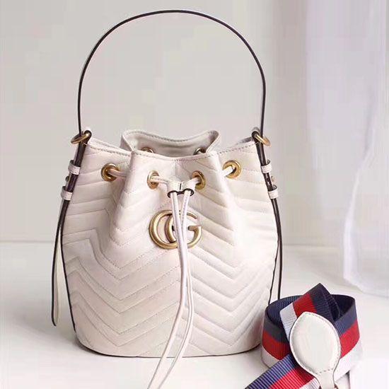Gucci GG Marmont Leather Bucket Bag 476674 White  cd43f389dda07