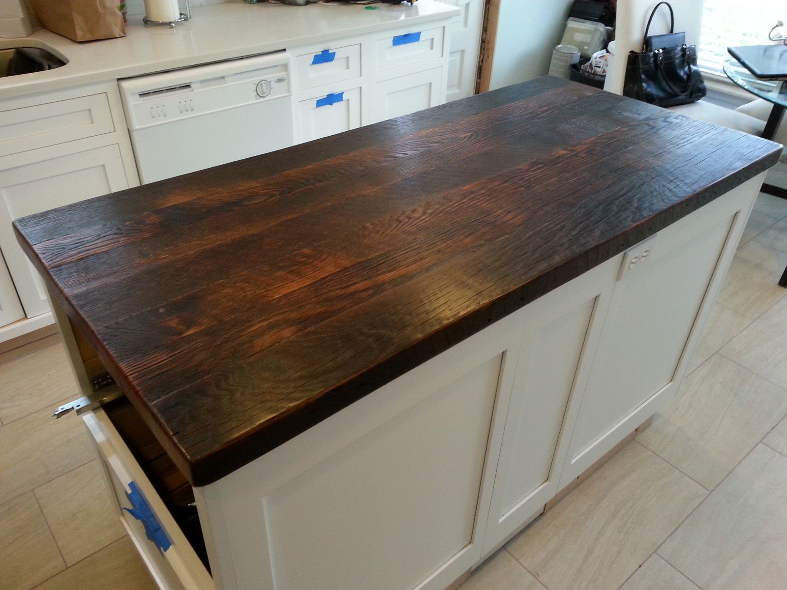 Reclaimed Wood Countertop Dark Walnut I want to use my attic floor boards and do this & Reclaimed Wood Countertop Dark Walnut I want to use my attic floor ...