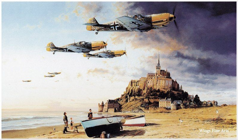 BF 109 's crossing the channel, with the wonderful le Mont San Michell to bottom Art by Robert Taylor: