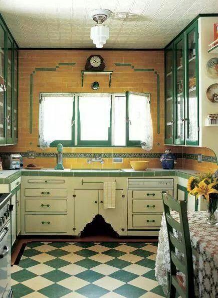 Épinglé Par Lisa Robinson Sur Art Deco Pinterest - Carrelage ancien pour idees de deco de cuisine