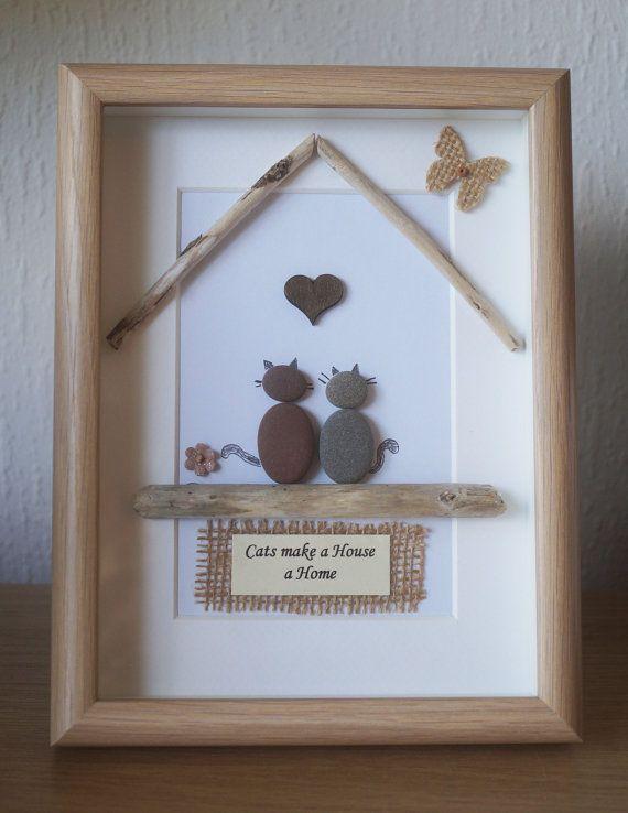 Pebble Art framed Picture- Cats make a House a Home | Arte enmarcado ...