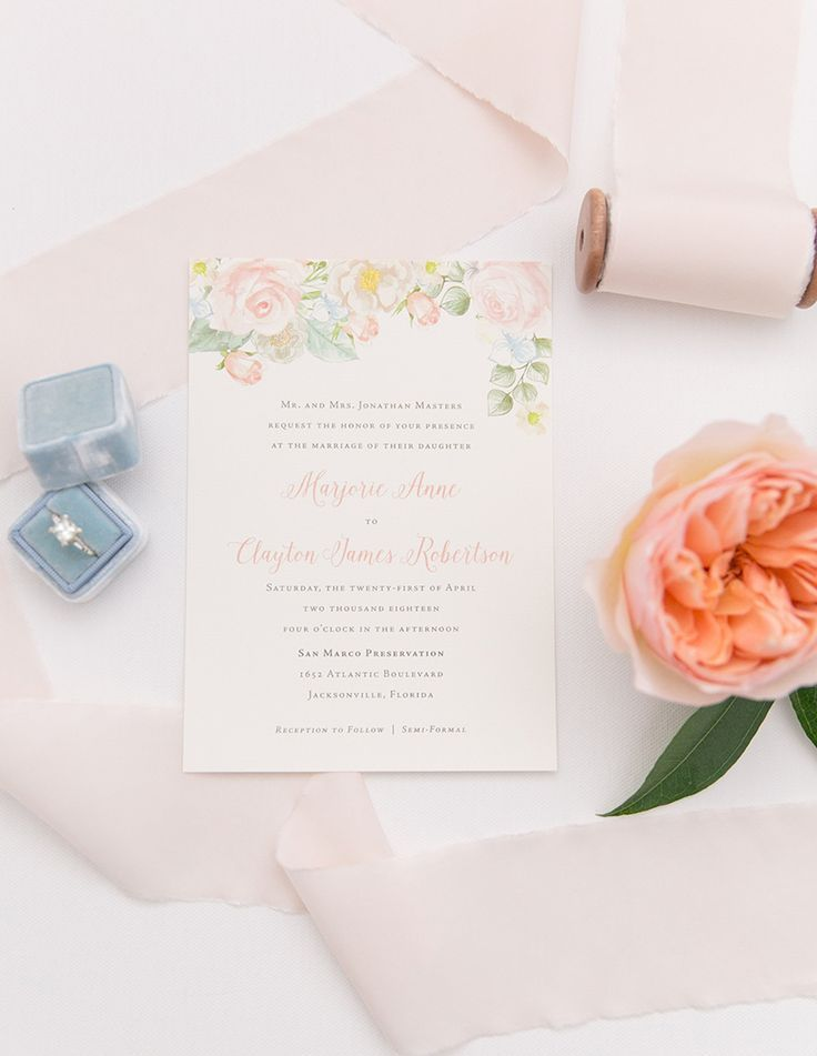 Peach and Dusty Blue Floral Wedding Invitation