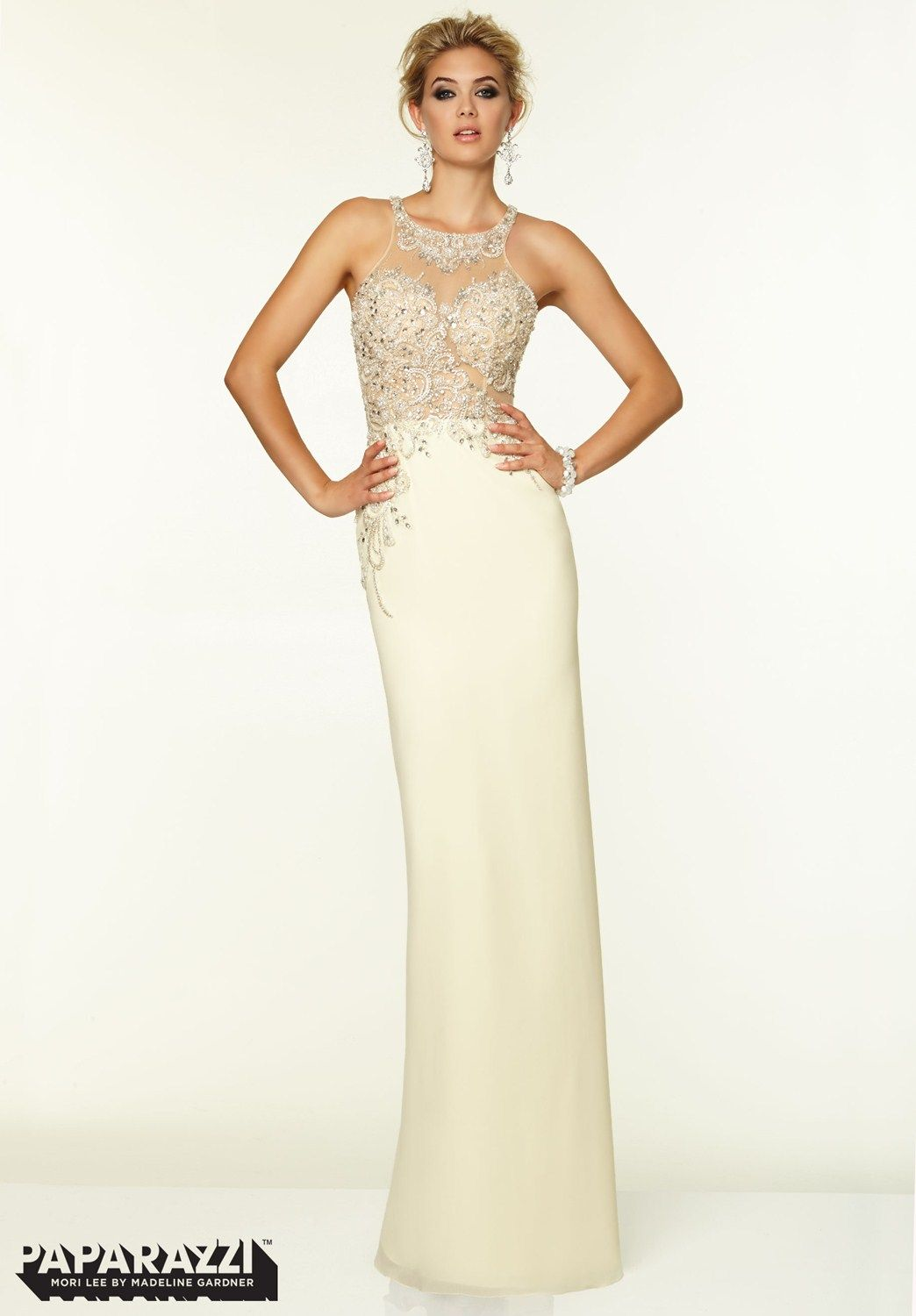 Edgy paparazzi this gown is glamorous instore in ivory size
