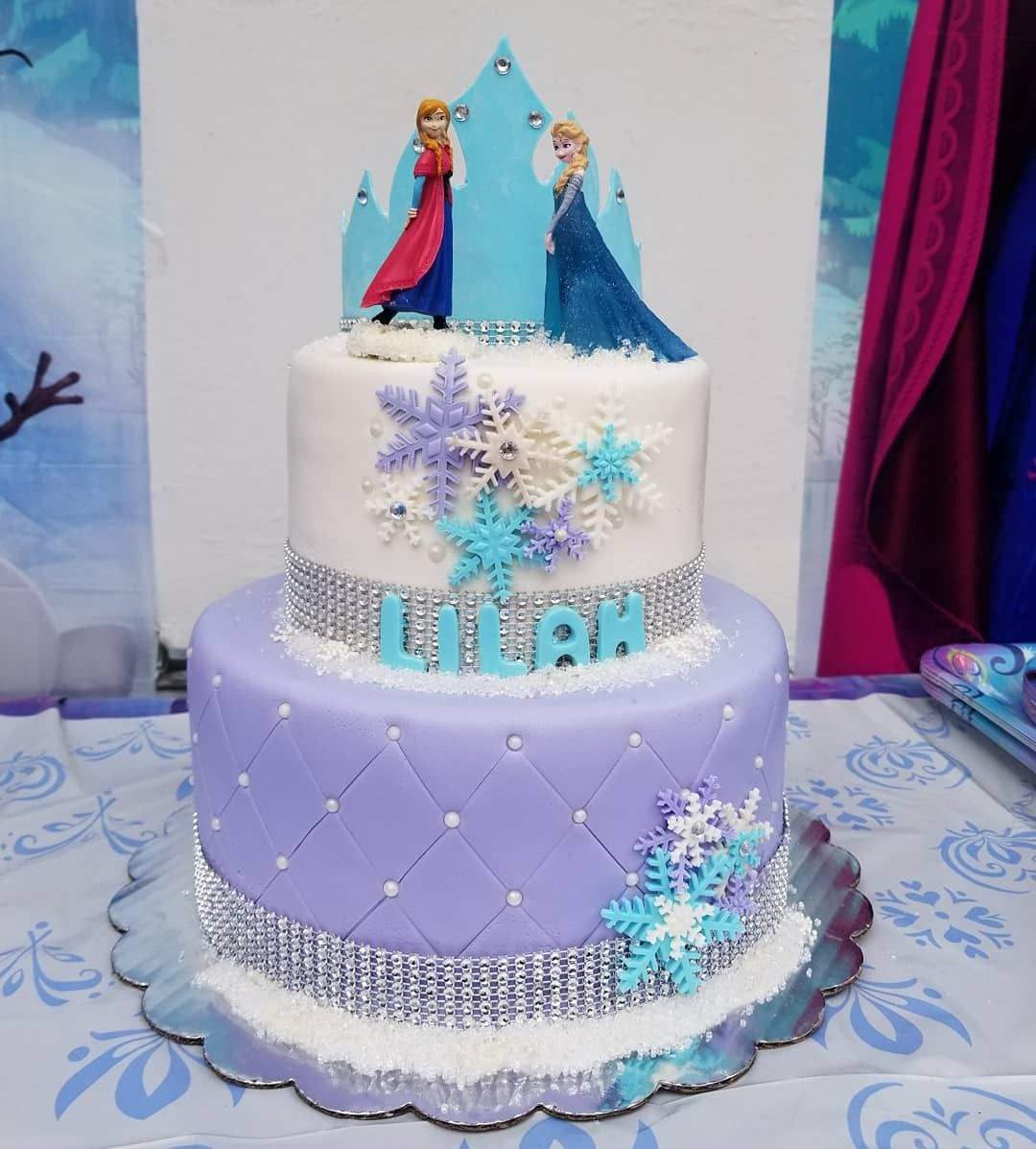 2 Tier Frozen Cake With Elsa And Anna Cake Toppers With Images