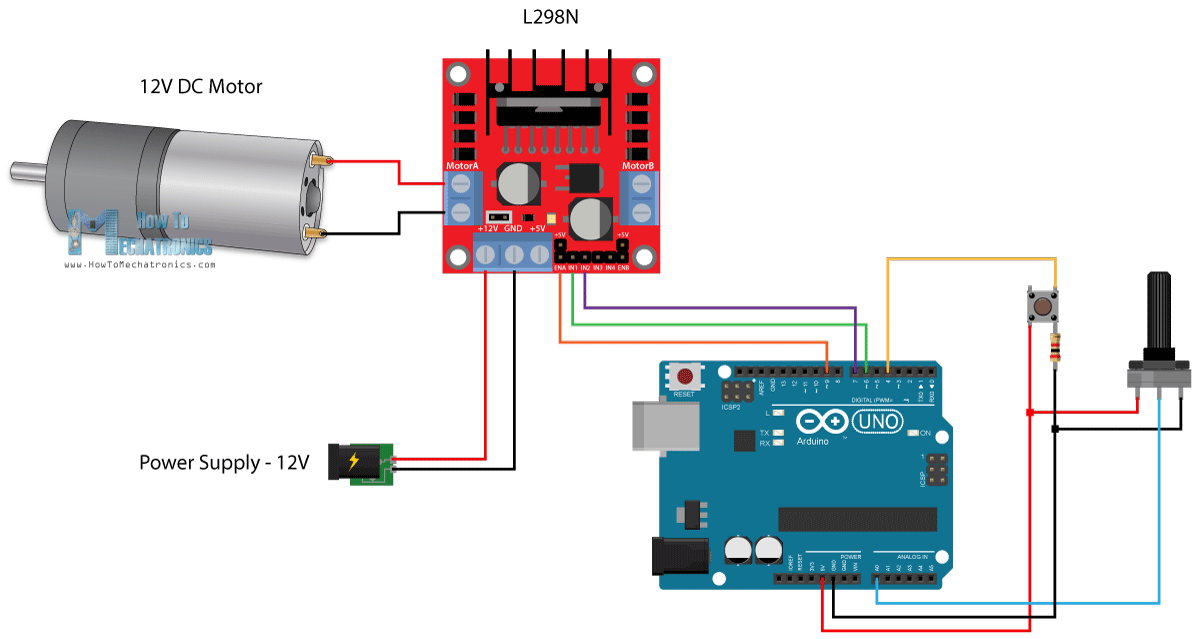 Arduino and l298n circuit diagram dc motor control for Arduino encoder motor control