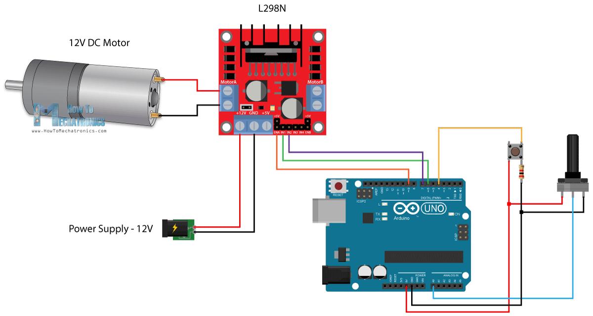 Arduino And L298n Circuit Diagram Dc Motor Control Arduino Arduino Motor Arduino Projects
