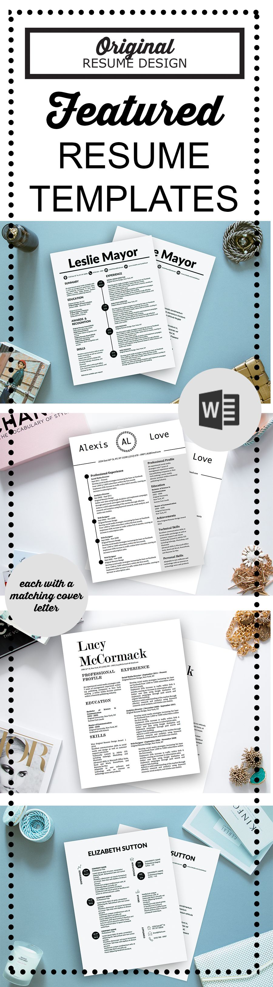 Featured resume templates for Microsoft Word by Original Resume ...