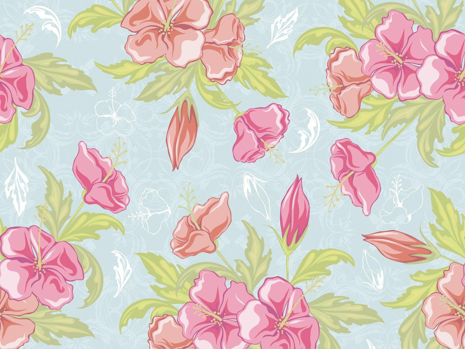 Vintage Seamless Flower Vector Background Jpg 1600 1200