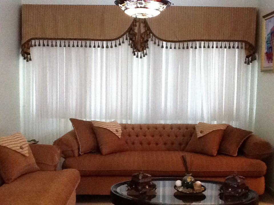 Cortina y cenefa para sala cortinas de sala pinterest for Cortinas modernas para living