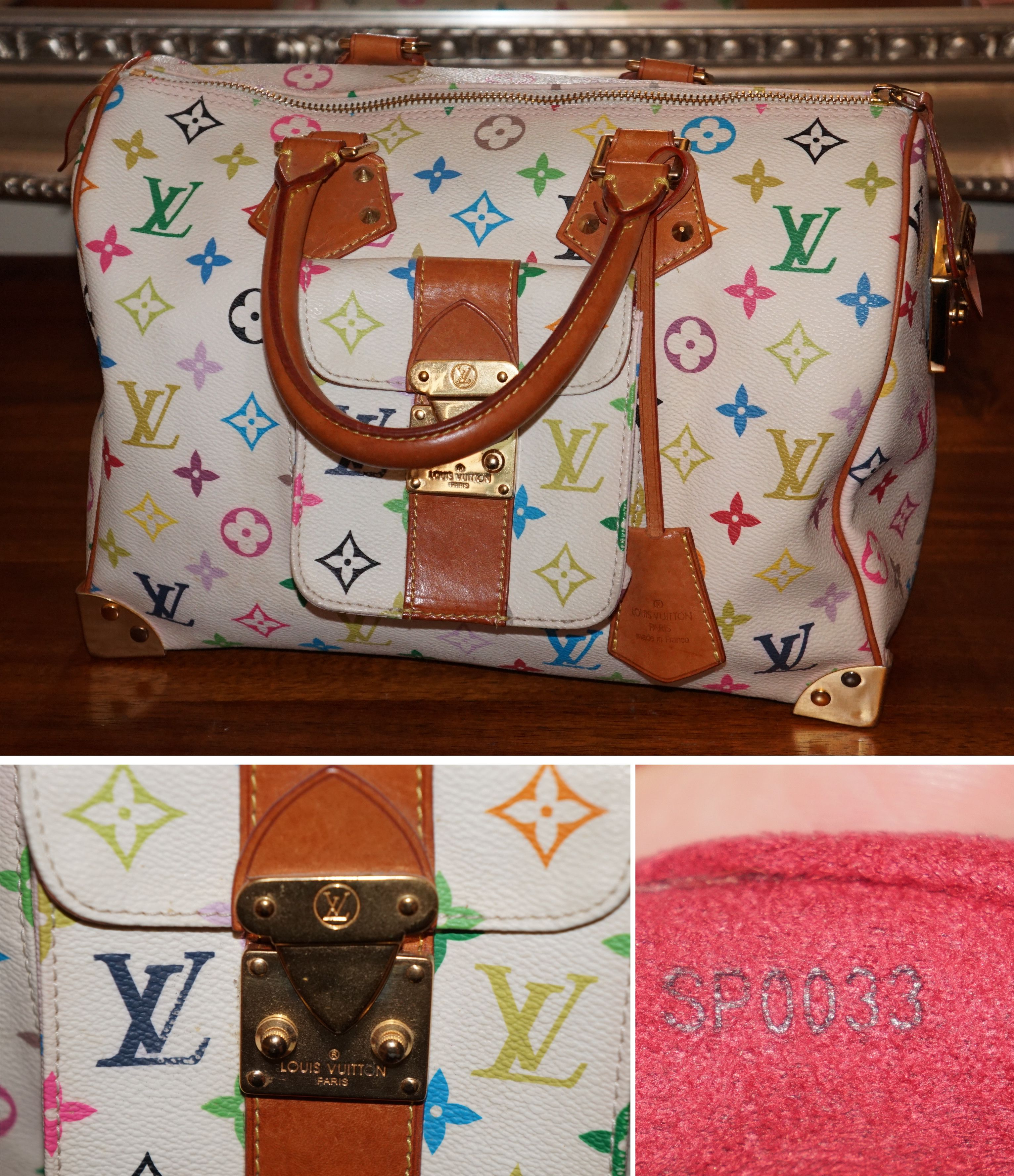 3041f7cc86a7 Commonly Faked Designer Goods: Louis Vuitton White Multicolor Speedy bag  Here are some of the most commonly counterfeited designer brands out there.  Can you ...