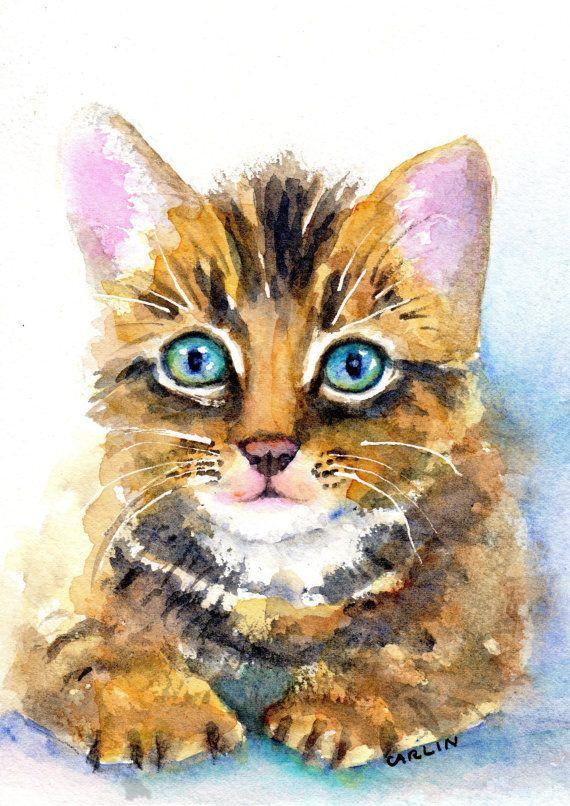 Watercolor Kitten Original Painting Tabby Cat Portrait 5x7