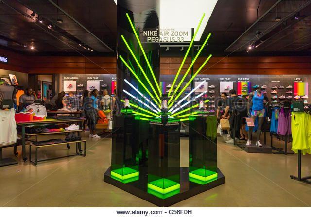 Nike Air Pegasus 33 shoe display in Nike Store in the Eaton