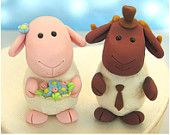 Wedding cake toppers Sheep and Ram with stand - funny cute custom