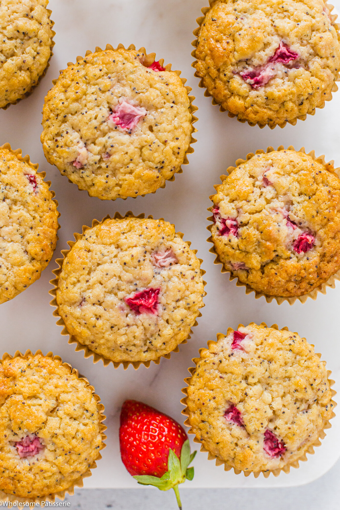 One Bowl Strawberry & Poppy Seed Muffins - Wholesome Patisserie